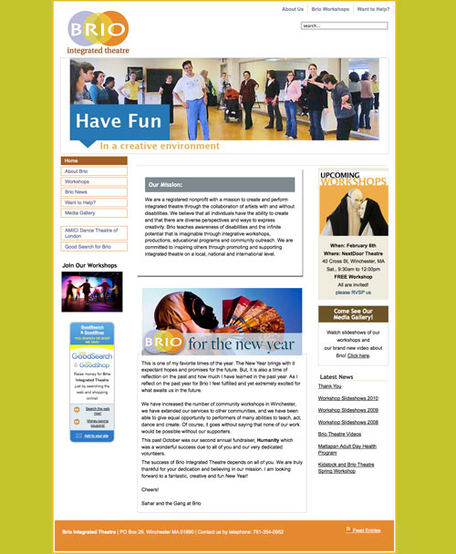 Brio Integrated Theatre website