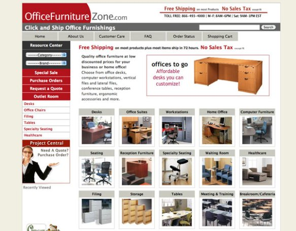 officefurniturezone.com home page